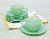 Vintage Jane Ray JADITE cup and saucer set of two
