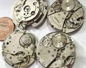 4 Oxidized Vintage Round Watch Movements (Y34)