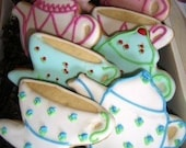 Tea for two  hand decoraterd cookies- By The Cookie Couture on Etsy-9 pieces