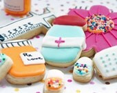 Get Well Cookies Set  Hand decorated By The Cookie Couture on Etsy-12 assorted pieces-EPL - 12 cookies