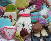 Bite size Alice in wonderland decorated cookies  -Alice in wonderland cookie image- 30 pieces