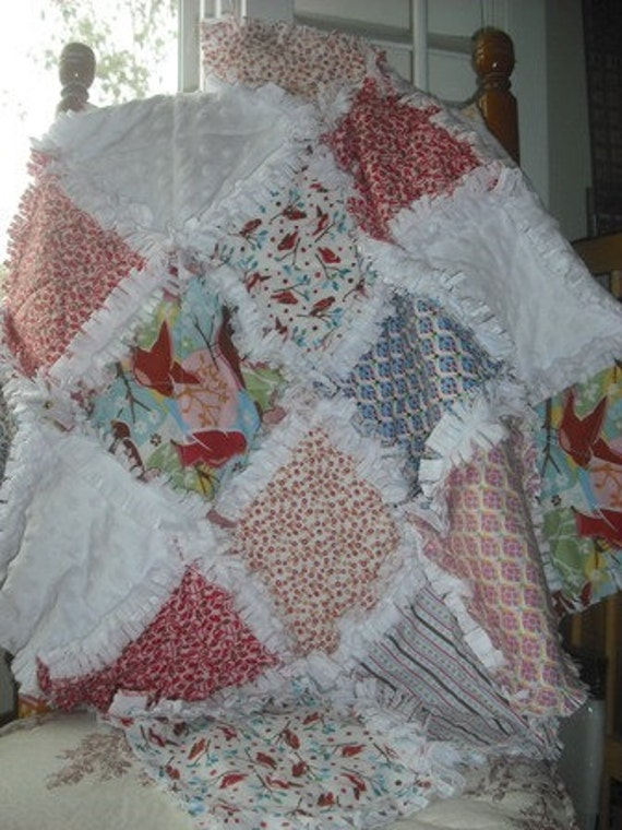 Rag Quilt Minkee Baby/Toddler Boy/Girl Lovey Travel Mini Quilt 28X28....Sale was 35.00 ...now 25.00