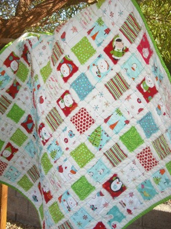 Snowman Winter Christmas Fray Edge Rag Quilt Gender Neutral....... Free Shipping US Only