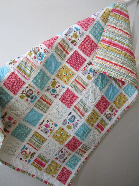 RESERVED FOR VOLLICKI.......Hedgehogs and Lovebirds........A Fray Edge Quilt 38X45