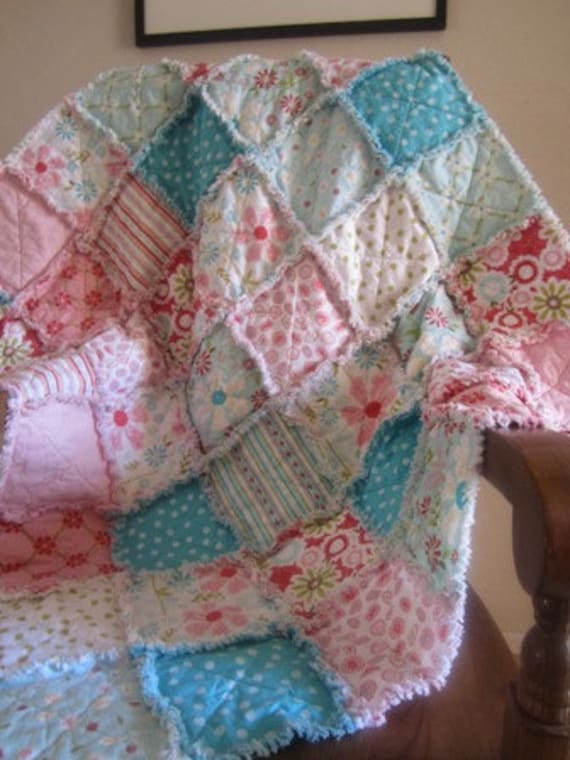 Sweet Divinity........A Baby Girl Rag Quilt 35X40