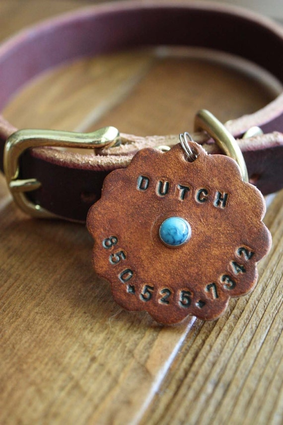 Large Leather Dog ID Tag