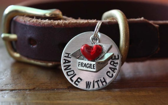 Fragile Handle With Care Heart Personalized Dog ID Tag