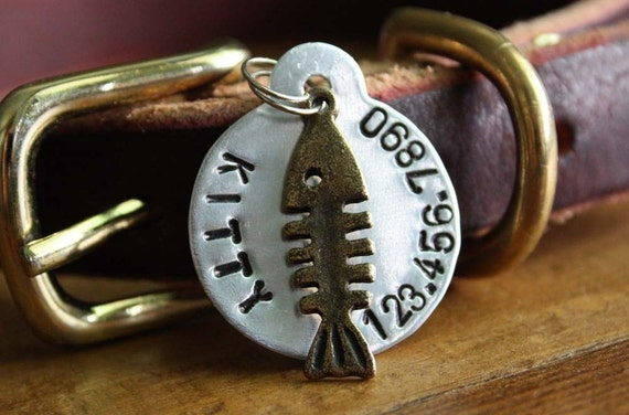 Small Round Bone Fish Personalized Dog or Cat ID Tag