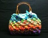 REDUCED - woven OOAK batik basket purse