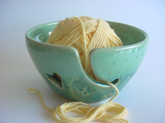 Four Leaf clover Yarn Bowl  Handmade pottery. Made To Order