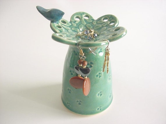 Lace and Heart Bluebird  Earring Holder, Handmade stoneware  pottery