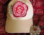 Baseball Cap, Ladies Hat, Monogram Baseball Cap in Khaki with Bandana Frayed Flower and Initial, One Size Fits Most, More Colors Available