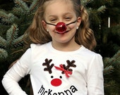 Girl's Long-sleeve Reindeer Tee Shirt or Bodysuit with a Personalized Smile