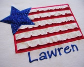 All American Girl Glitter and Ruffle Stars & Stripes Patriotic Tee
