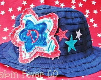 Hat, Toddler Hat, Toddler Patriotic Sun Hat with Trio of Stitched Stars and Dimensional Frayed Star and Initial