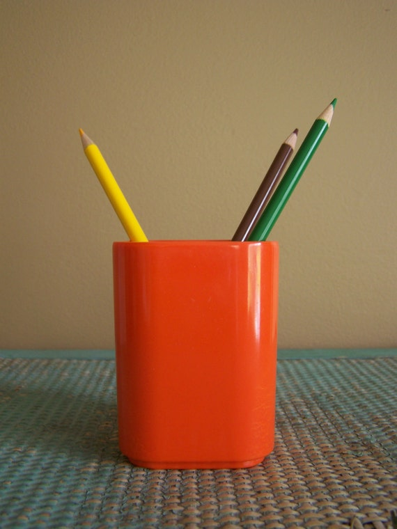 SALE - Vintage Radius One Orange Pencil Cup Holder Midcentury Modern