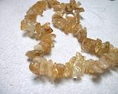 Bead, ice flake quartz golden