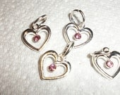 20x13mm heart, silver and light pink , Sold per 4pcs