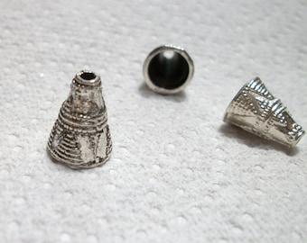 silver bead cap,  4pcs