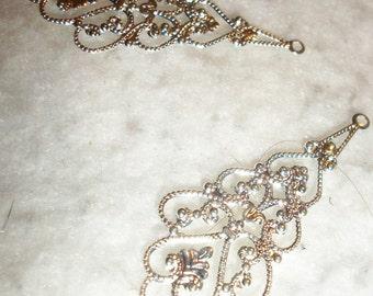 drop silver plated filigree drops, 4pcs
