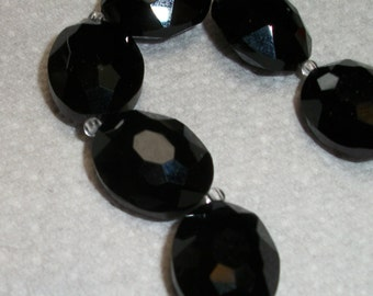 15x20mm Black Faceted Chinese Crystal Glass, set of 5