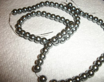 6mm glass pearl, pewter,16inch strand