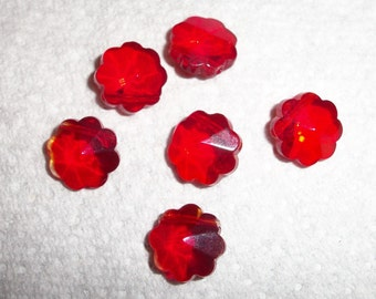 cherry red glass 15mm flowers