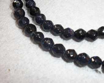 6mm, midnight blue goldstone faceted round beads, 22 Beads