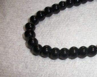 6mm round, black glass bead, 16inch strand