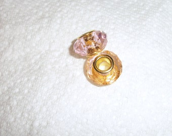 Dione, 15x8mm faceted rondelle, gp, brass,pink, Sold per pkg of 2