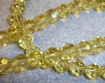 8mm round, Celestial Crystal, 32facet, light yellow, pkg of 14