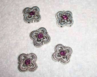 antiqued silver and crystal flower spacer, Sold per pkg of 5
