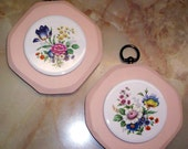 VINTAGE PINK FLORAL WALL PLAQUES SET OF 2  WALL DECOR