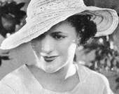 1930s Fashion Sun Hat Vintage Crochet Pattern PDF