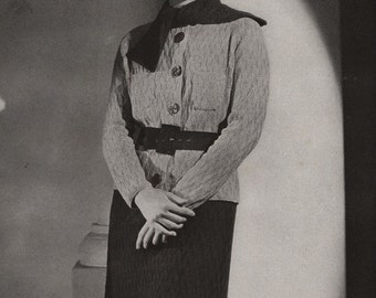 PDF of Minerva's Greenbrier Two Piece Silver Crepe Suit Knitting Pattern No. 3621, c. 1934