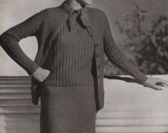 PDF of Minerva's Merion Lustre Wool Suit Vintage Knitting Pattern, c. 1934