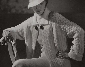PDF of Minerva's St. Moritz Coat, Skirt, and Hat Knitting Pattern No. 3611, c. 1934