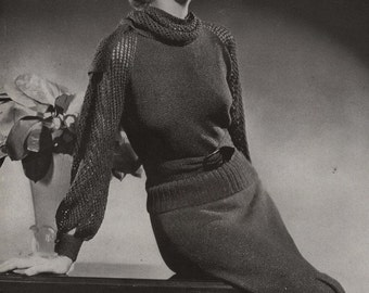PDF of Minerva's Plaza Two Piece Dress Vintage Knitting Pattern, c. 1934