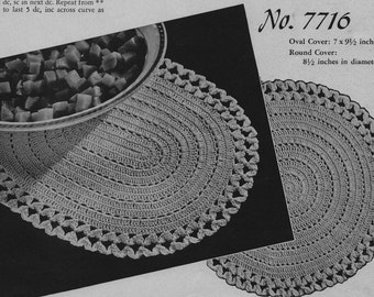 PDF Circular and Oval Hot Pad Crochet  Pattern, c. 1944