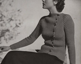 Vintage knitting pattern PDF St. Andrews Raglan Sweater and Skirt, c. 1934