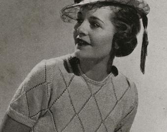 Vintage Knitting Pattern PDF of Minervas Rosetta Blouse, Skirt, and Belt, c. 1935