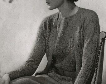 Vintage Knitting Pattern PDF of Minervas Ferncliff Silver Crepe Suit and Beret, c. 1934