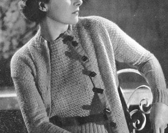 PDF of Minervas Richmond Twin Sweater Suit Vintage Crochet Pattern, c. 1934