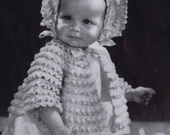 PDF Vintage Crochet Pattern, Baby Girl Jacket, Bonnet, and Booties, c. 1943
