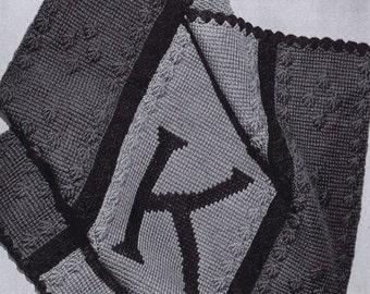 PDF Lap of Luxury Personalized Baby Blanket Vintage Crochet Pattern, c. 1943