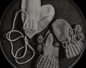 PDF Plain and Simple Childs Mittens Vintage Knitting Pattern, c. 1943