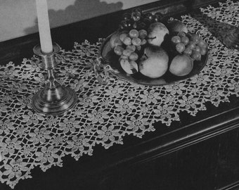PDF Floral Table Runner Crochet  Pattern, c. 1944