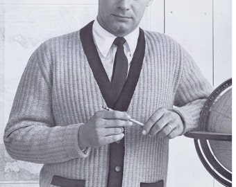 PDF of Mens Button Down Accent Color Cardigan with Pockets Knitting Pattern, 1950s