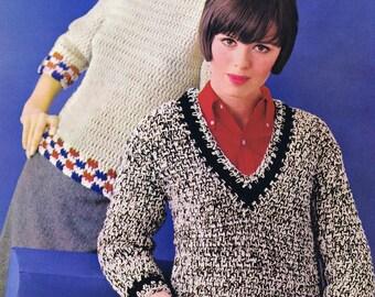PDF of Minervas V-Neck Striped Raglan Sweater Vintage Crochet Pattern, c. 1950s