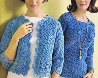 PDF of Minervas Three Quarter Sleeve Shell Stitch Jacket Vintage Crochet Pattern, c. 1950s